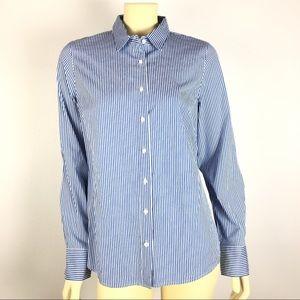 J. Crew Blue Striped Button Down Perfect Shirt M